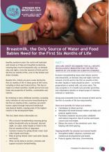 Breastmilk, the Only Source of Water and Food Babies Need for the First Six Months of Life